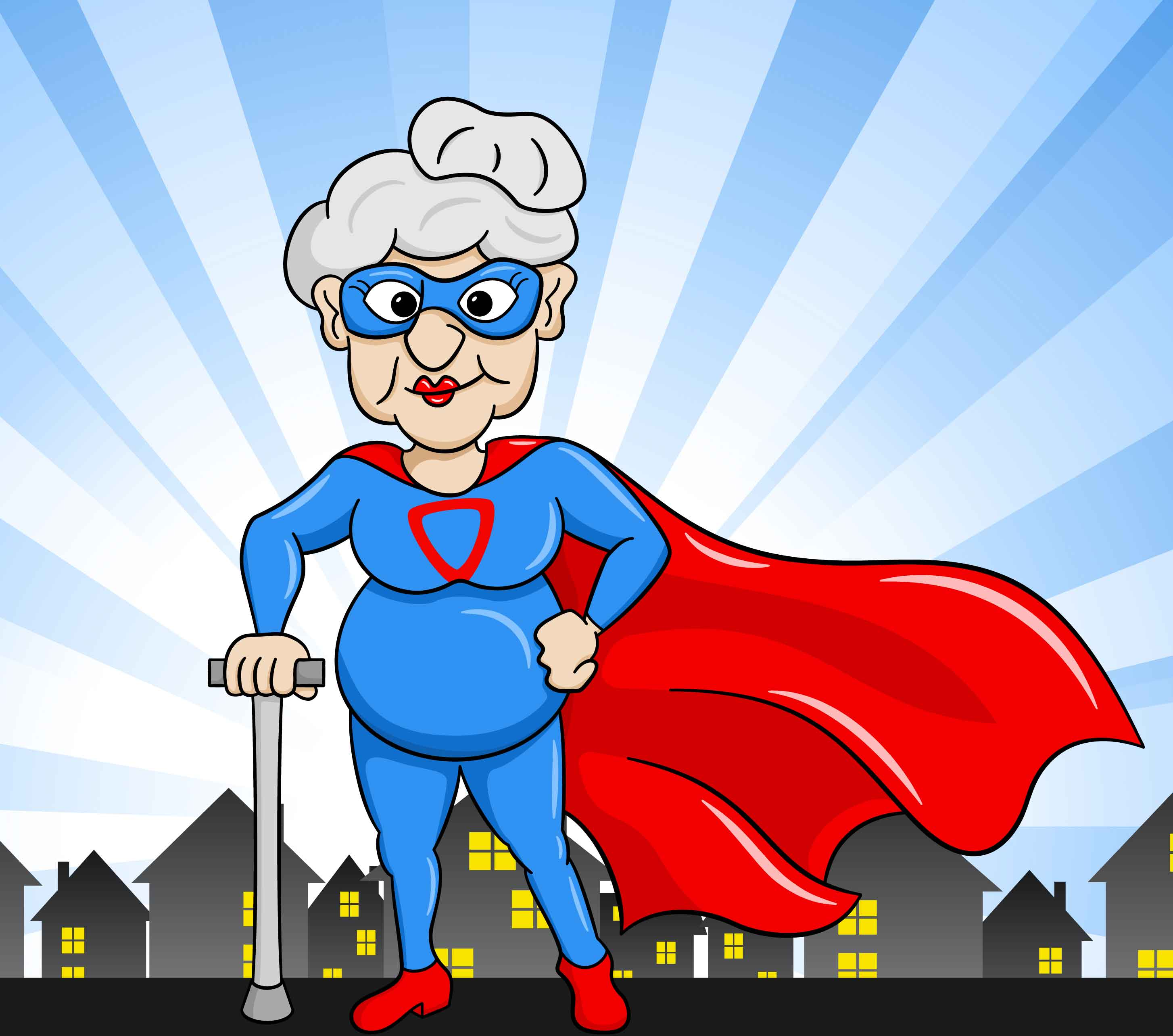 vector illustration of a senior super heroine with cape